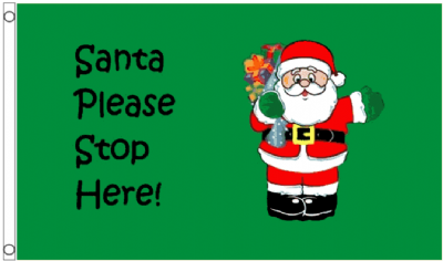 Christmas Santa Please Stop Here 5'x3' (150cm x 90cm) Flag